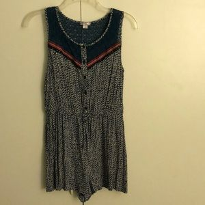 Dresses & Skirts - Blue and White Button Up Romper